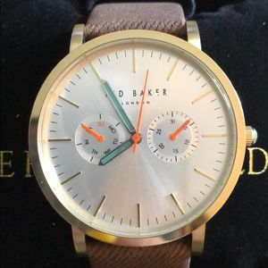 NWT Ted Baker Men's multifunction leather Watch